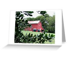 """""""Red Barn Through The Green Foliage""""... prints and products Greeting Card"""