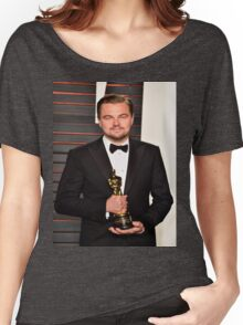 Leonardo DiCaprio with the Oscar Women's Relaxed Fit T-Shirt