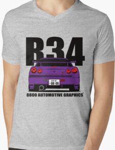 Nissan Skyline R34 GTR Purple Version Mens V-Neck T-Shirt