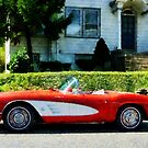Red And White Corvette Convertible by Susan Savad