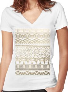 Modern faux gold foil aztec leopard pattern Women's Fitted V-Neck T-Shirt