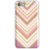 Modern color block pink coral gold boho chevron iPhone Case/Skin