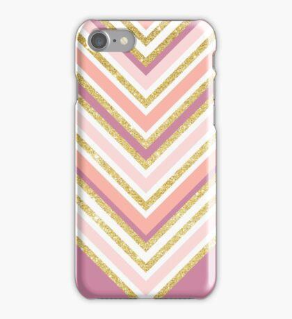 Modern color block pink coral gold boho chevron iPhone Case/Skin
