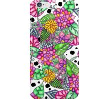 Modern bright pink floral bouquet black dots  iPhone Case/Skin