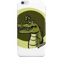 green crocodile emotion one arms up cartoon style iPhone Case/Skin