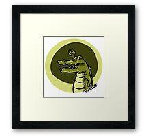 green crocodile emotion one arms up cartoon style Framed Print