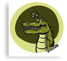green crocodile emotion one arms up cartoon style Canvas Print