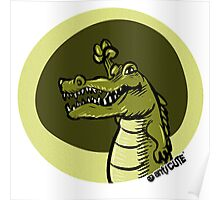 green crocodile emotion one arms up cartoon style Poster