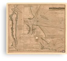American Revolutionary War Era Maps 1750-1786 735 Plan of Amelia Island in East Florida north point of Amelia Island lyes in 30 55 north latitude 80 23 w Canvas Print