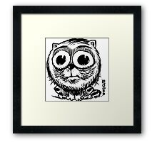 big eyes small black and white cat Framed Print