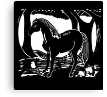 Black Horse Printmaking Art Canvas Print