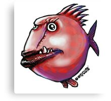 ugly red spot fish digital drawing cartoon style Canvas Print