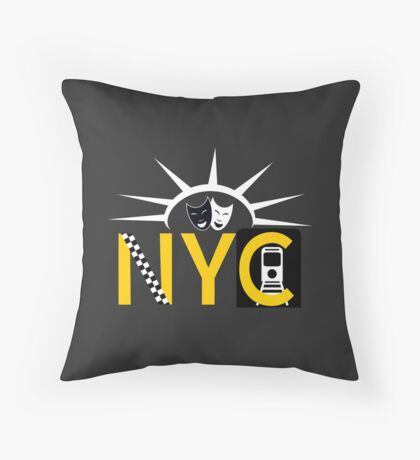 NYC icons collage New York Throw Pillow