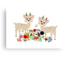 Cute Whimsical Woodland Animals Scene Canvas Print