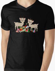Cute Whimsical Woodland Animals Scene Mens V-Neck T-Shirt