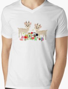 Cute Whimsical Woodland Animals Scene Mens V-Neck T-Shirt