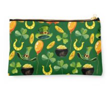 Patrick`s day green pattern. Watercolor Studio Pouch
