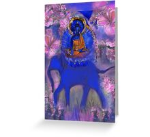 Akshobya Buddha on Blue Elephant Greeting Card