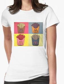 Andy Warhol Style French Fries Womens Fitted T-Shirt