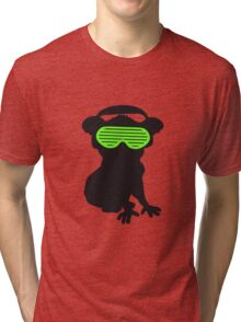 celebrate party music dj silhouette glasses headphones koala dancing club funky Tri-blend T-Shirt