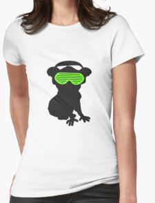 celebrate party music dj silhouette glasses headphones koala dancing club funky Womens Fitted T-Shirt