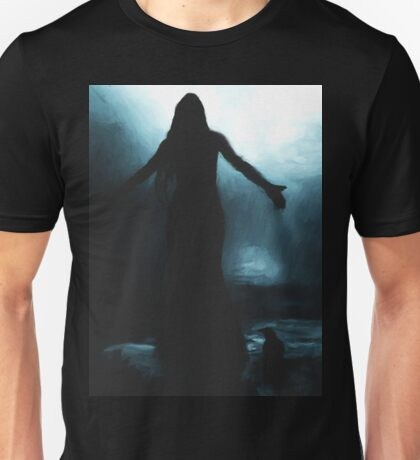 celtic goddess morrigan crow raven rain water woman animal mythical Unisex T-Shirt