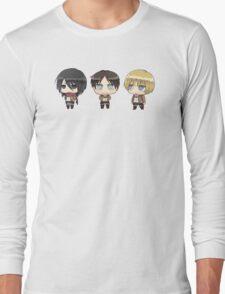 mikasa, eren, armin Long Sleeve T-Shirt