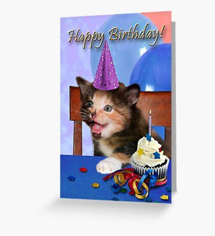 Birthday Calico Kitten Greeting Card