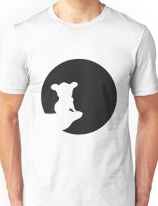 moon cliff night howling dark werewolf who koala sitting vollmond sunlight outline design Unisex T-Shirt