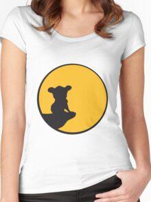 moon cliff night howling dark werewolf who koala sitting vollmond sunlight outlined Women's Fitted Scoop T-Shirt