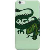 Fun Smiling Flying Green Dragon iPhone Case/Skin