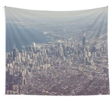 Chicago from the air color photo Wall Tapestry