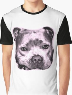 Staffie Dog face in pink  Graphic T-Shirt