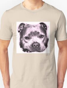 Staffie Dog face in pink  Unisex T-Shirt