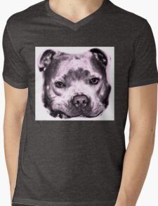 Staffie Dog face in pink  Mens V-Neck T-Shirt