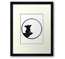 moon cliff night howling dark werewolf who koala sitting vollmond sunlight outlined Framed Print