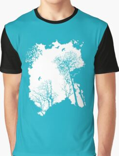 White forest silhouette on a range of backgrounds Graphic T-Shirt