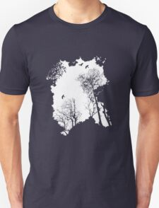 White forest silhouette on a range of backgrounds Unisex T-Shirt