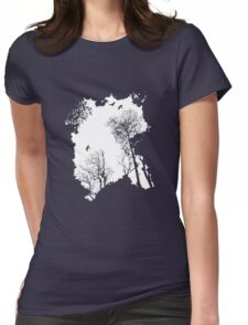 White forest silhouette on a range of backgrounds Womens Fitted T-Shirt