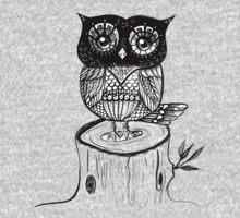 Little Owl Watercolor One Piece - Long Sleeve