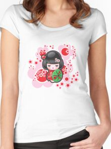 Japanese Kokeshi Doll Women's Fitted Scoop T-Shirt