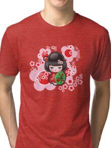 Japanese Kokeshi Doll Tri-blend T-Shirt