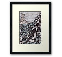 Unicorns in Sea Framed Print