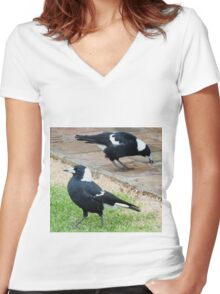 Magpies Morning Tea Women's Fitted V-Neck T-Shirt