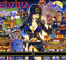 Elvira & The Party Monsters BackGlass Art by MingeeMustachio