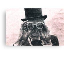 Top Hat Binoculars Man, Digital Drawing Canvas Print