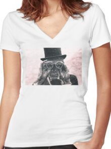 Top Hat Binoculars Man, Digital Drawing Women's Fitted V-Neck T-Shirt