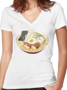 Anime Ramen Women's Fitted V-Neck T-Shirt