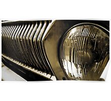 Old classic car headlight Poster