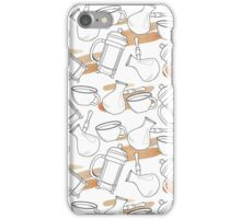 Pattern with french press, cup and turkish coffee pot iPhone Case/Skin